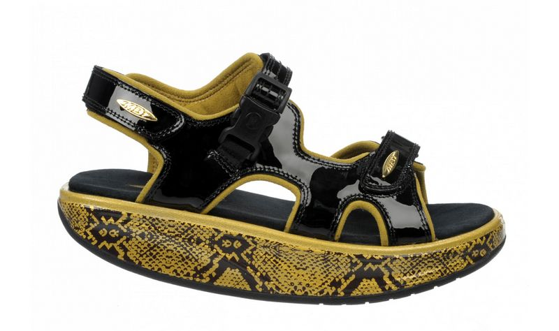 Women's MBT Kisumu 3S Black, Metallic Gold Snake
